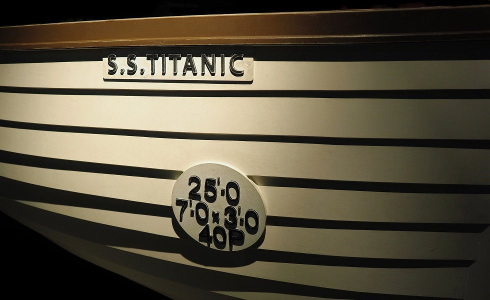 shadowed replica lifeboat from Titanic labeled SS Titanic